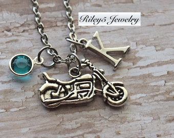 Personalized Motorcycle Necklace Letter Initial Birthstone Necklace - Biker Girl Necklace