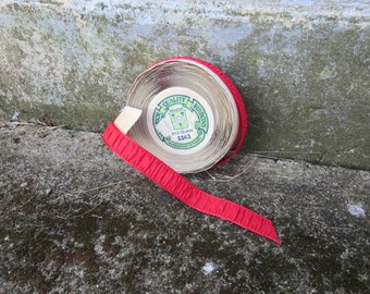 """Vintage 1910s 1920s 1930s NOS roll red silk ribbon trim 3/4"""" by 10 yards original price tag unused The Lasalle & Koch Co."""