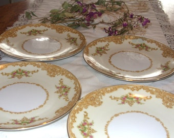 Vintage Noritake China Bread & Butter Plates Vintage 1930 Pattern Gold Edged and Floral Plates Set of 4