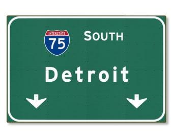 Detroit I-75 South Highway Sign Steel Wall Decor Souvenir Gift Road Travel Replica Michigan mi Interstate METAL not tin 36x24 FREE SHIPPING