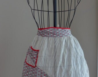 Vintage Red and White Organza Waist Apron