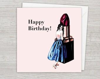 Fashion Illustration Vintage Lipstick Lady Birthday Card