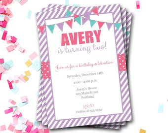 Pink And Purple Birthday Invitation, Bunting Birthday Invitation, Pink And Purple Invite, First Birthday Party, Girl Birthday, DIY Printable