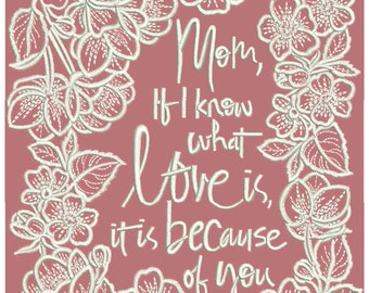 MACHINE EMBROIDERY DESIGN - Mother's day design, Mother's day embroidery, Mother's day quotes