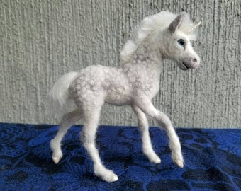 Custom Needle felted wool Unicorn Foal, felted by Carol Rossi