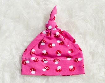 Top knot Baby Hat - Baby Girl Hat - Spring Baby Hat - Baby Hats for Girls - Pink Baby Hat - Jersey Hat - Baby Gift - Baby Shower Gift