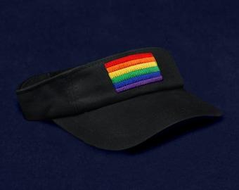 Rectangle Rainbow Visor In Black in a Bag (1 Visor - Retail) (RE-VI-RB3)