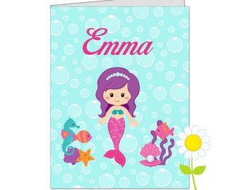 Personalized Folder for Kids - Mermaid Pocket Folder for Girls - Custom School Folder - Mermaid Folder with Name - Back to School Gift