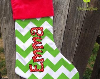 Personalized Christmas Stocking - Kids' Custom Xmas Stocking - Red & Green Chevron Stocking for Girls with Name - Monogrammed Xmas Stocking