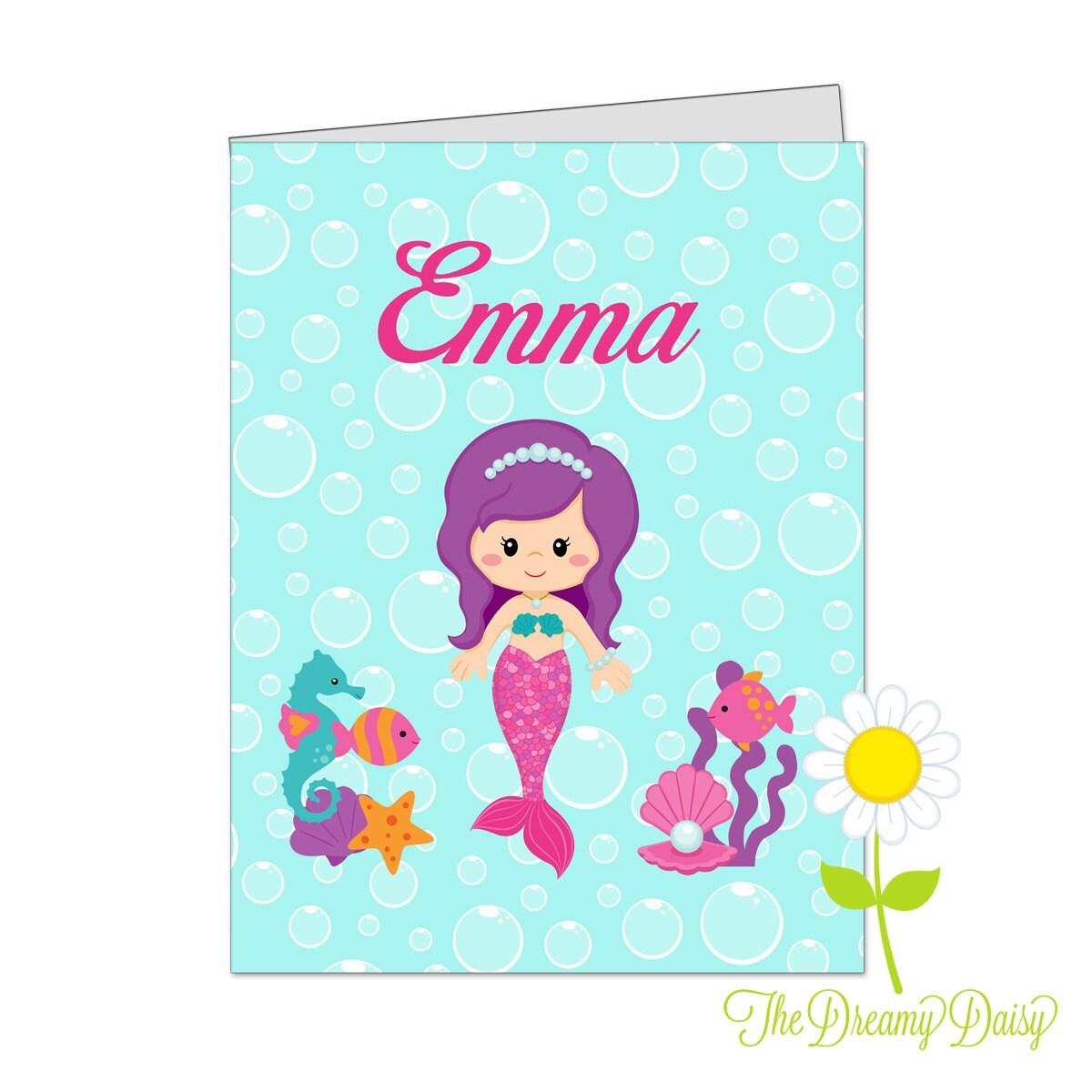 personalized folder for kids mermaid pocket folder for girls