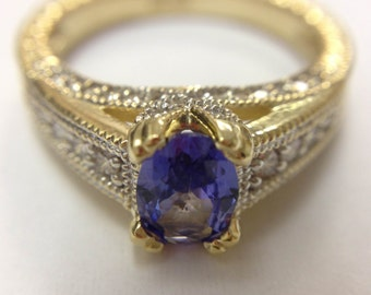NATURAL Tanzanite Diamond Ring in 14K Two Tone !!! Free Shipping in The USA