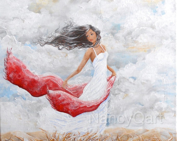 Woman in the wind original  painting, beautiful lady wall art on canvas print, Original painting by Nancy Quiaoit