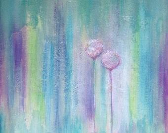 Original Acrylic Painting Canvas Art Contemporary Abstract Textured Floral Landscape Art Home Decor Purple White 16x16x1,2 40cmx40cmx3cm