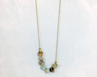 Long Amazonite + Brass Bead Necklace