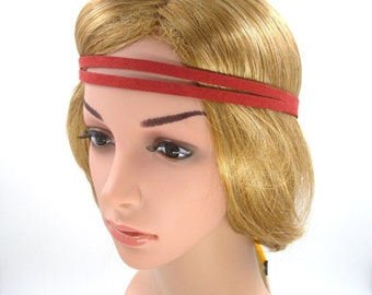 Red Suede Leather Headband,Red  Boho Bohemian Tribal Hippie Yoga Headband,Red Double Stranded Halo Headband,Elastic,Women Men Adult Hairband
