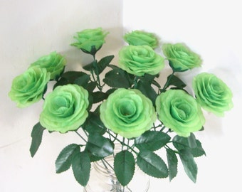 Silk Flowers,Green Silk Rose Bush with 15.7'' Stems Fake Artificial Fabric Rose Bouquet Wedding Flowers Rose Centerpieces Floral arrangement