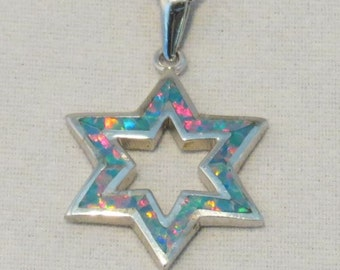 Bluey Pink Opal Star of David with Open center, Six pointed Star, opal magen david