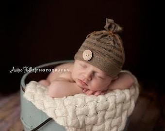 NEWBORN BABY HAT: newborn baby beanie, hat, stretch knit brown striped baby beanie, newborn cap, baby photo prop, newborn photography prop