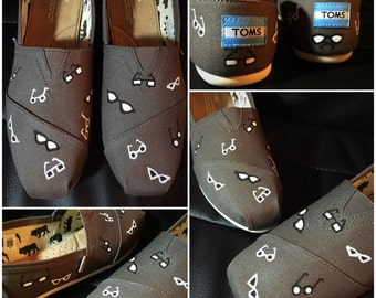 Custom painted Hipster/Eye Doctor Toms. Designed and personalized just for you!
