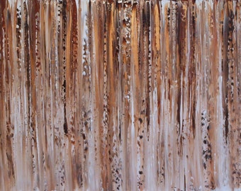 "XL Original Modern Acrylic Contemporary Palette Knife textured Brown/Bronze painting 48"" x 24"" ready to hang box canvas, abstract art"