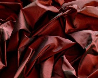 """Burgundy Red Silk Taffeta 100% Silk Fabric, 54"""" Wide, By The Yard (TS-7020)"""