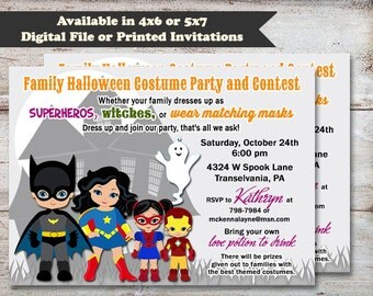 Super Hero Halloween Party Invitation, Kids Halloween Invitation, Superhero Halloween Birthday Invitation, Digital or Printed Invitation