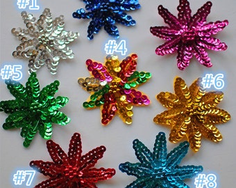 Sequined flower patch appliuque Floral paillette patch Clothing decoration patch sew on patch