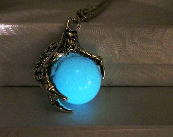 Glow in the Dark Dragon Claw Necklace Glowing Dragon Ball Necklace Steampunk Dragon Glow Necklace Punk Rock Hipster Grunge Necklace Fantasy