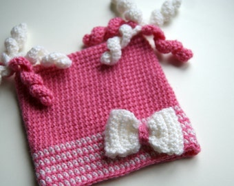 Baby Girl Crochet Hat, Crochet Baby Hat, Crochet beanie for Girl, Infant girl Hat, Pink Baby Hat with Bow, Baby Bow Hat