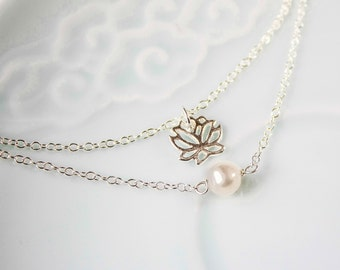 Sterling Silver Lotus and Pearl Bracelet, Pearl Bridal Bracelet, Chinese Jewelry