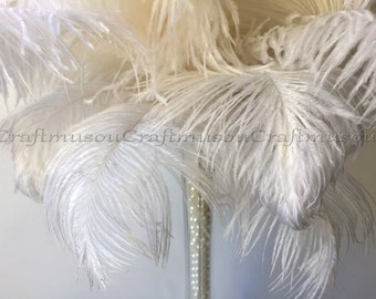 10 Piece 10-24 inches White ostrich feather for Wedding Centerpiece decoration