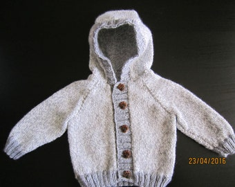 9 to 12 month baby boy grey button up hoodie