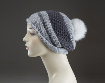 Pure Cashmere Hand Knit Hat with fox fur pom pom  Grey  Slouchy  Unisex men women One of a Kind  No mass production