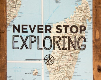 "Madagascar Map Print, Never Stop Exploring, Great Travel Gift, 8"" x 10"" Letterpress Print"