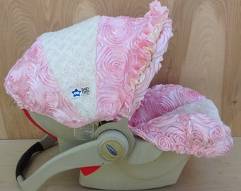 Infant Car Seat Cover- Pink Rosette/ Ivory