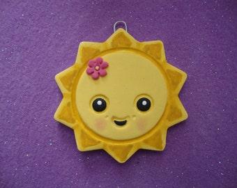 Kawaii Sun adorable air dy clay ornament handmade hand painted salt dough ornaments by cookiecuttercuties