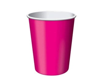 PINK PAPER CUPS (Set of 8) - Pink Paper Cups (266ml / 9oz)