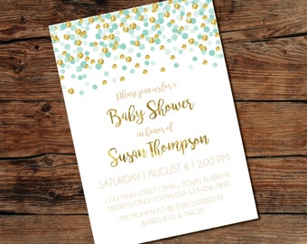 PRINTABLE Gold Confetti Invitation - Baby Shower - Bridal Shower - Print-at-Home