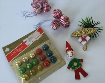 Vintage Christmas Package Tie Ons and Feather Tree Ornaments
