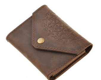 ON SALE Brown leather minimalist Card Case - Genuine leather card case - Women leather card cases