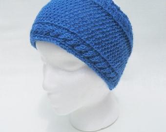 blue knitted headband, blue ear warmer, cable knitted acrylic headband