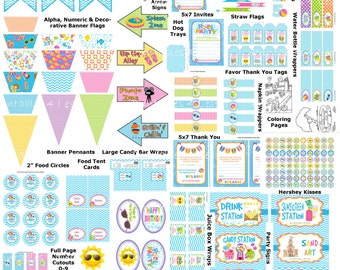 Pool Party Decorations, Pool Birthday Party Supplies, Beach Party, Summer Birthday Party, Swimming Birthday  - Printables 4 Less