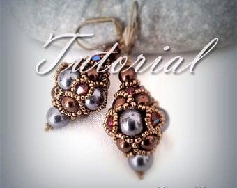 Beading tutorial earrings Crystal earrings pattern  earrings beading tutorial  earrings instruction long earrings Bead earring tutorial