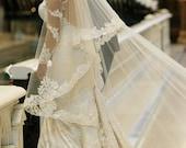 Lace Swatch, Beaded Lace Veil, Custom Veil, Lace Veil, Drop Veil, Mantilla,Royal Veil, Wedding Veil, Bridal Veil, Bespoke veil- THERESA VEIL