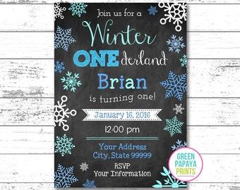 Winter Onederland Invite - Invitation - Digital File - Printable - Blue and Teal - Snowflake - Boy's First Birthday Invitation