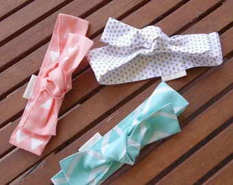 Top Knot Headbands: Gold dots, aqua herringbone and blush triangles - Set of 3