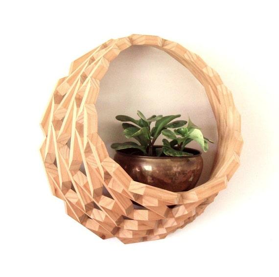 Large Hanging Wood Planter Wooden Wall Basket Wood Block