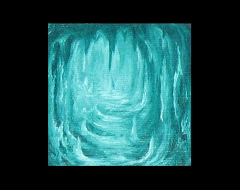 Turquoise Cave - Miniature Oil Painting on Easel