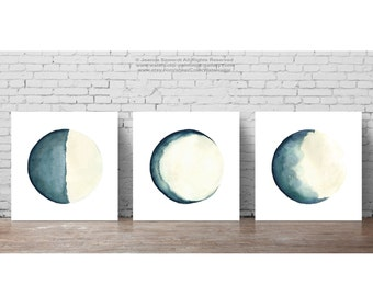 Moon Phase Print Blue Turquoise Cream Abstract Wall Decor Moon Phases Watercolor Painting set 3 square Illustration, Solar System Wall Decor