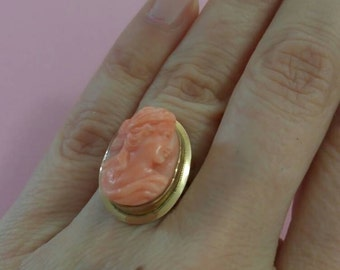 Antique Victorian Salmon Coral Cameo ring 14k Yellow Gold